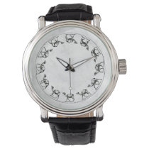 Camel Ink Drawing Illustration on White Faux Shell Wristwatch
