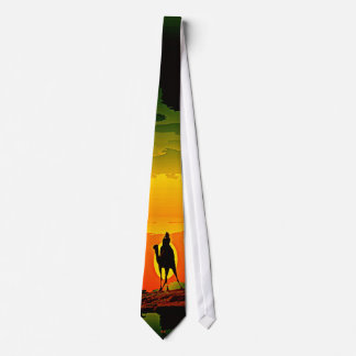 Camel riding in the sunset tie
