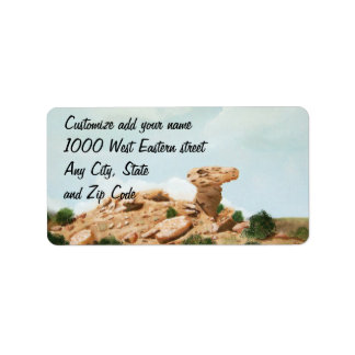 Camel Rock - Santa Fe, New Mexico Oil Painting Label