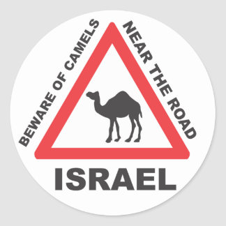 Camel Sign in Israel Round Stickers