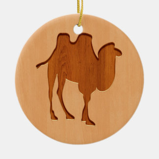 Camel silhouette engraved on wood design ceramic ornament