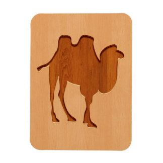 Camel silhouette engraved on wood design rectangular photo magnet