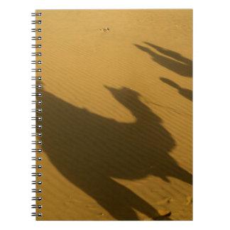 Camel silhouettes on sand dunes, Thar Desert, Spiral Notebook