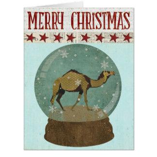 Camel Snowglobe  Christmas Card