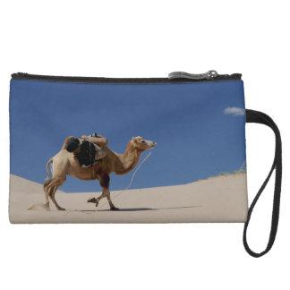 camel suede wristlet wallet