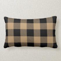Camel Tan Black Buffalo Check Plaid Lumbar Pillow