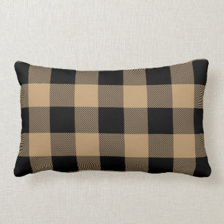 Camel Tan Black Buffalo Check Plaid Lumbar Pillow