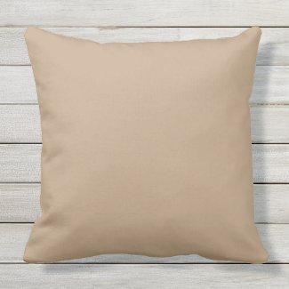 Camel Tan Solid Color Outdoor Throw Pillow 20x20