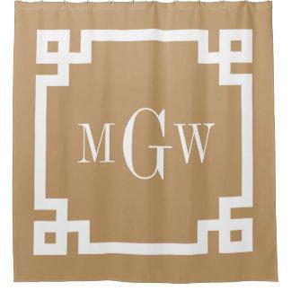 Camel Tan White Greek Key #2 Framed 3I Monogram Shower Curtain