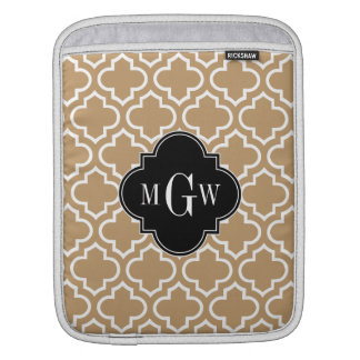 Camel Tan Wht Moroccan #6 Black 3 Initial Monogram Sleeve For iPads