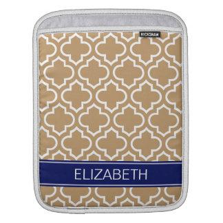 Camel White Moroccan #6 Navy Blue Name Monogram iPad Sleeve