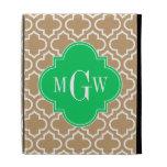 Camel Wht Moroccan #6 Emerald 3 Initial Monogram iPad Folio Case