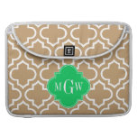 Camel Wht Moroccan #6 Emerald 3 Initial Monogram MacBook Pro Sleeves