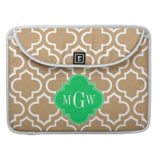Camel Wht Moroccan #6 Emerald 3 Initial Monogram Sleeve For MacBook Pro