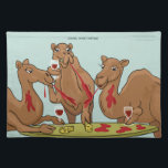 "Camel Wine Tasting Placemat<br><div class=""desc"">Three camels attend a wine tasting event which results in red wine being distributed generously by each.