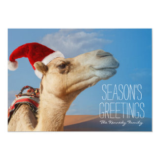 camel with christmas hat card