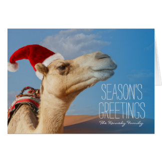 camel with christmas hat greeting card