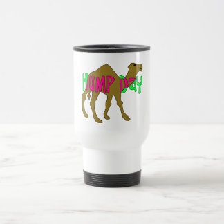 Camel with Hump Day in Pink and Green Travel Mug