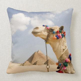 Camel with Pyramids Giza, Egypt Throw Pillow