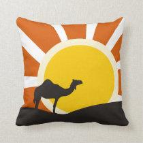 Camel With Sunset Throw Pillow