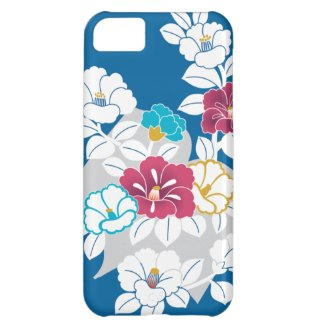 Camelia motifs on a blue background iPhone 5C cover