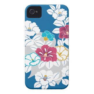 Camelia motifs on a blue background iPhone 4 Case-Mate case