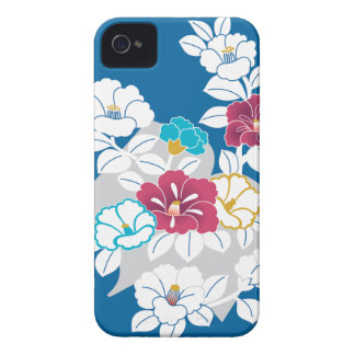 Camelia motifs on a blue background iPhone 4 cover