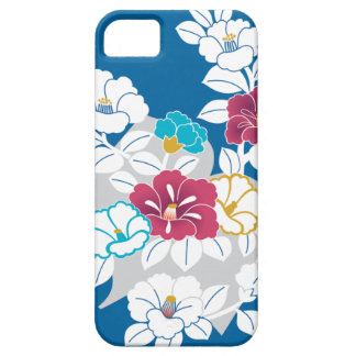 Camelia motifs on a blue background iPhone SE/5/5s case