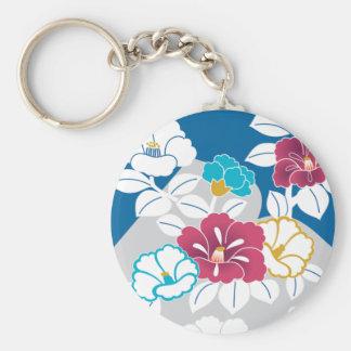 Camelia motifs on a blue background key chain