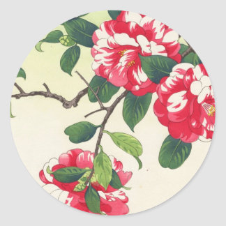 Camelia Nishimura Hodo ukiyo-e  flowers art Classic Round Sticker