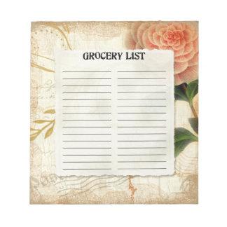 Camelia rosada botánica del vintage de la lista de blocs de papel