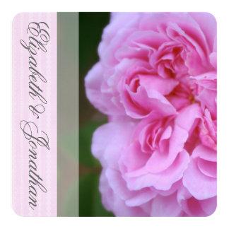 """Camelia rosada y boda de la cinta invitación 5.25"""" x 5.25"""""""