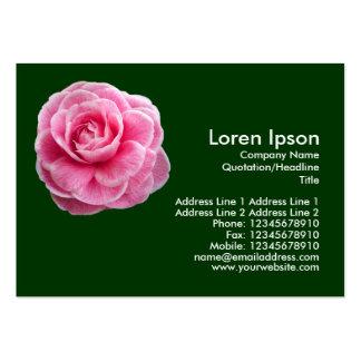 Camelia rosado 2 - verde oscuro plantilla de tarjeta de visita