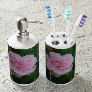 Camelia rosado bonito vaso para cepillos de dientes