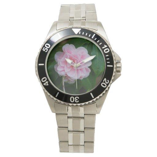 Camelia rosado bonito reloj de mano