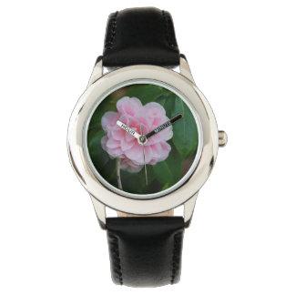 Camelia rosado bonito relojes de mano