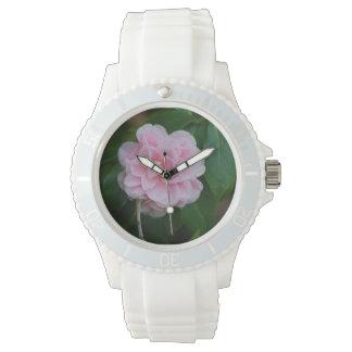 Camelia rosado bonito relojes de pulsera