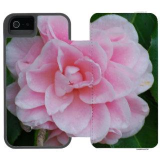 Camelia rosado floreciente funda billetera para iPhone 5 watson