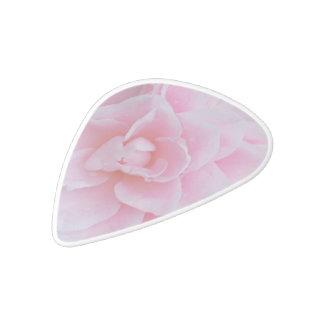 Camelia rosado floreciente púa de guitarra delrin blanco