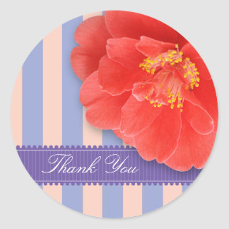 Camelia & Stripes with Ribbon: Pink Classic Round Sticker