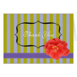 Camelia with Stripes: Purple Greeting Cards
