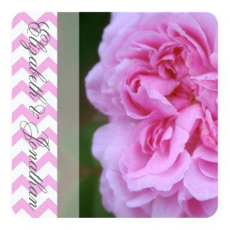 """Camelia y boda rosado de Chevron Invitación 5.25"""" X 5.25"""""""