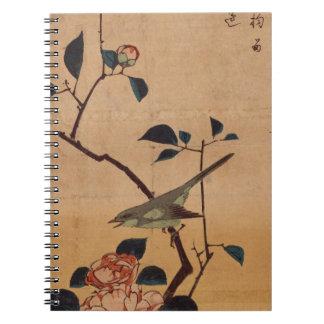 Camelia y curruca de Bush por Hiroshige Spiral Notebooks