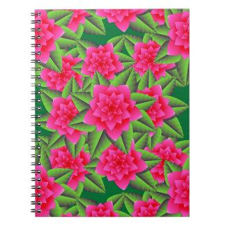 Camelias de Fuschia y hojas rosadas del verde Libretas