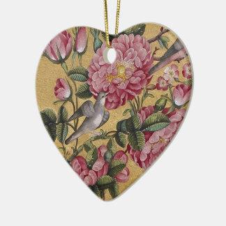Camelias exóticas adorno navideño de cerámica en forma de corazón