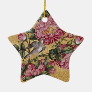 Camelias exóticas adorno navideño de cerámica en forma de estrella