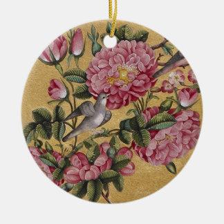 Camelias exóticas adorno navideño redondo de cerámica