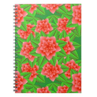 Camelias y hojas anaranjadas coralinas del verde cuadernos