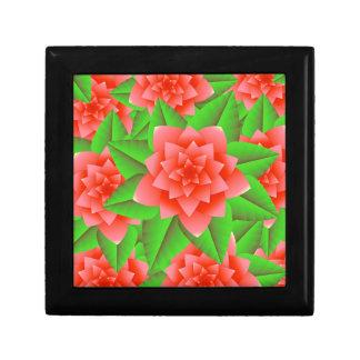 Camelias y hojas anaranjadas coralinas del verde joyero cuadrado pequeño