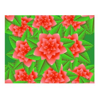 Camelias y hojas anaranjadas coralinas del verde postales